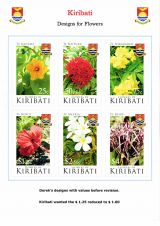 09 Kiribati 2017 Flowers - Designs with values befire revision
