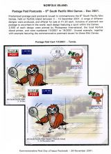 01 Norfolk Island Postage Paid Postcards 6th South Pacific Mini Games 2001 Tennis