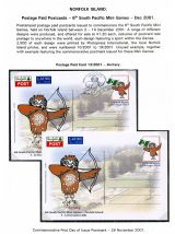 04 Norfolk Island Postage Paid Cards 6th South Pacific Mini Games 2001 Archery