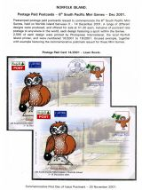 05 Norfolk Island Postage Paid Cards 6th South Pacific Mini Games 2001 Lawn Bowls
