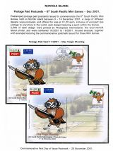 08 Norfolk Island Postage Paid Cards 6th South Pacific Mini Games 2001 Clay Target Shooting