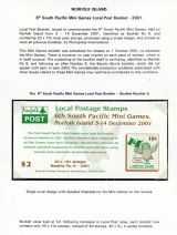 23 Norfolk Island - 6th South Pacific Miini Games Local Post booklet 2001